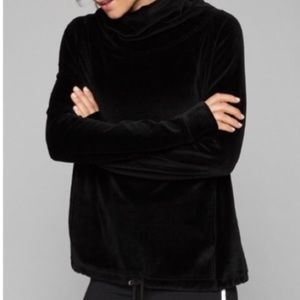 Athleta | Black Velour Funnel Neck Hoodie